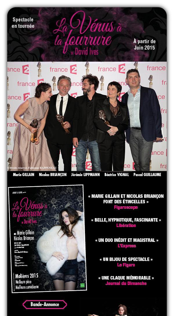TOURNEE - LA VENUS A LA FOURRURE / MOLIERES 2015 / Bande-Annonce : CLIQUEZ ICI