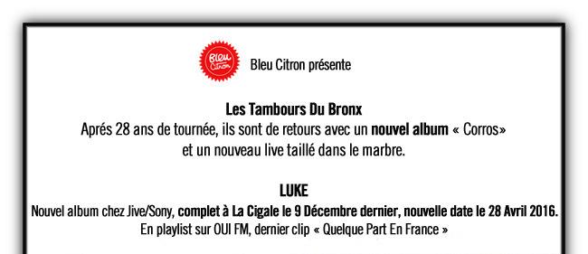 Bleu Citron Prod : Nos Artistes en TOURNEE 2016 / 2017