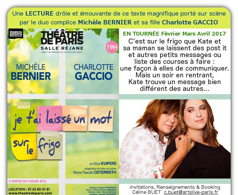 Michele BERNIER et sa fille dans une lecture DROLE et EMOUVANTE - Invitations, Renseignements & Booking : c.buet@artslive-paris.fr